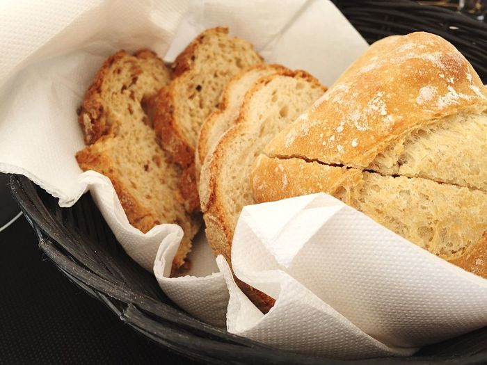 Close-up of bread slices on tissue in basket