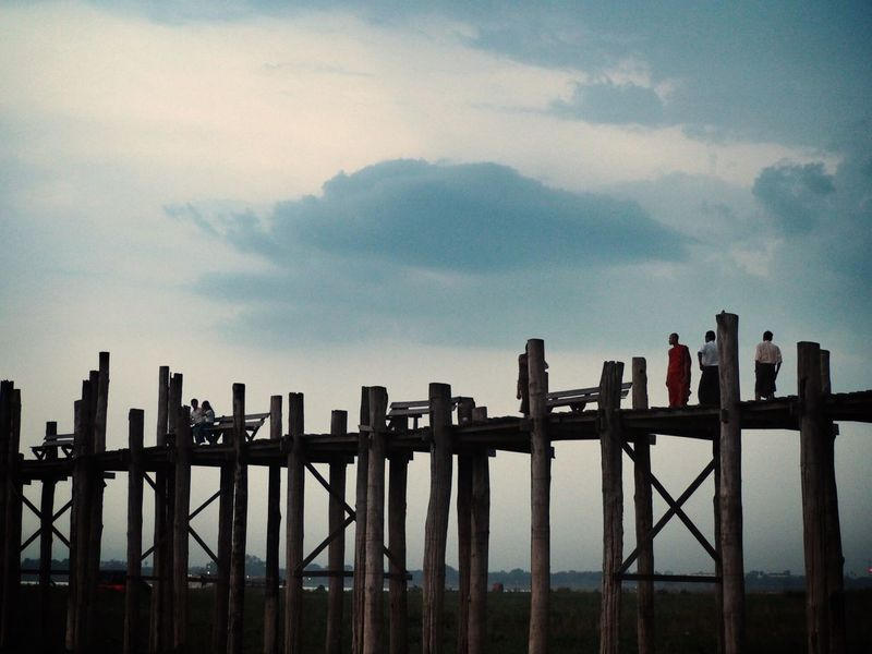 U Bein Bridge Sunset Travel Destinations Myanmar Amarapura U Bein Bridge Teak Wood Bridge Wooden Bridge Sky Cloud - Sky Fence Boundary Barrier Nature No People Architecture Wood - Material Scenics - Nature Outdoors