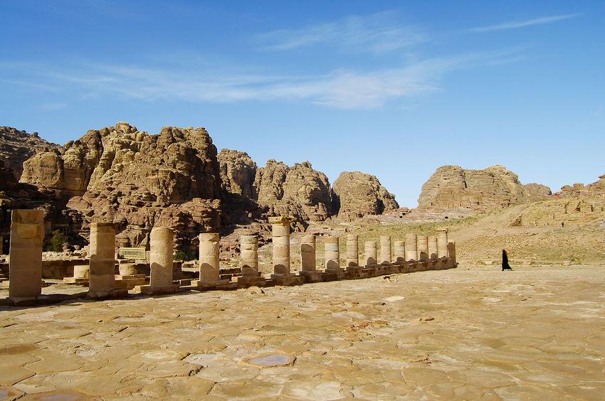 Old Pillars - Petra - Jordan Jordan Petra Ancient Civilization Built Structure Old Ruin Pillars