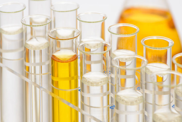 Close-up of chemicals in test tubes on table