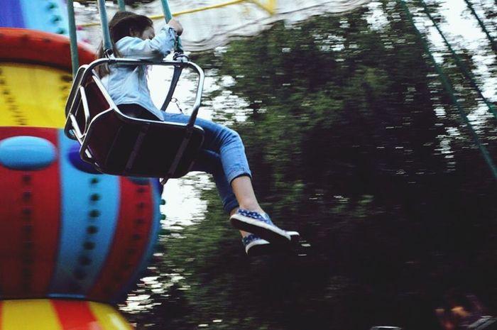 My Best Photo 2015 Carousel Merrygoround Park Swing Girl Playing EyeEm
