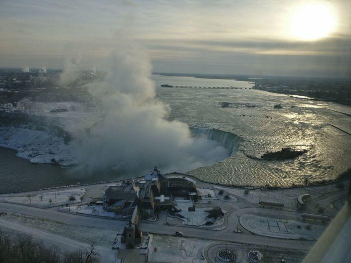niagara, from atop Waterfalls Niagara Falls Topview Aerial View Sea Sky Cloud - Sky