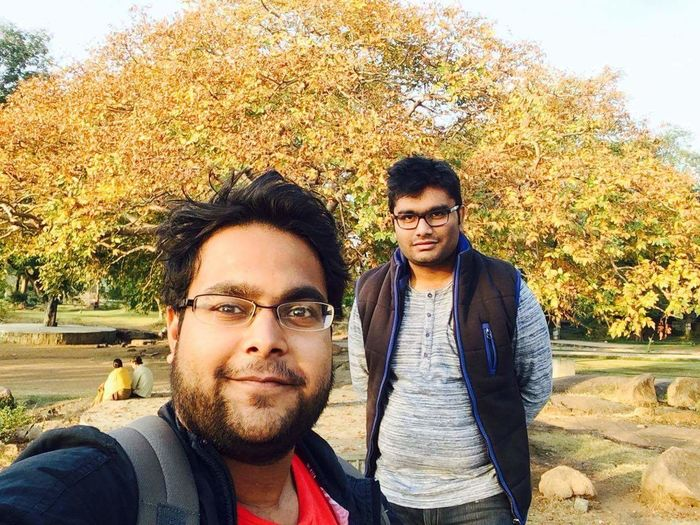 Young MenEnjoy The New Normal Young Adult Beard Two People Looking At Camera Front View Togetherness Eyeglasses  Friendship Gandipet_lake Portrait Casual Clothing Tree Only Men Lifestyles Adults Only Hipster - Person Sunglasses Adult People Men