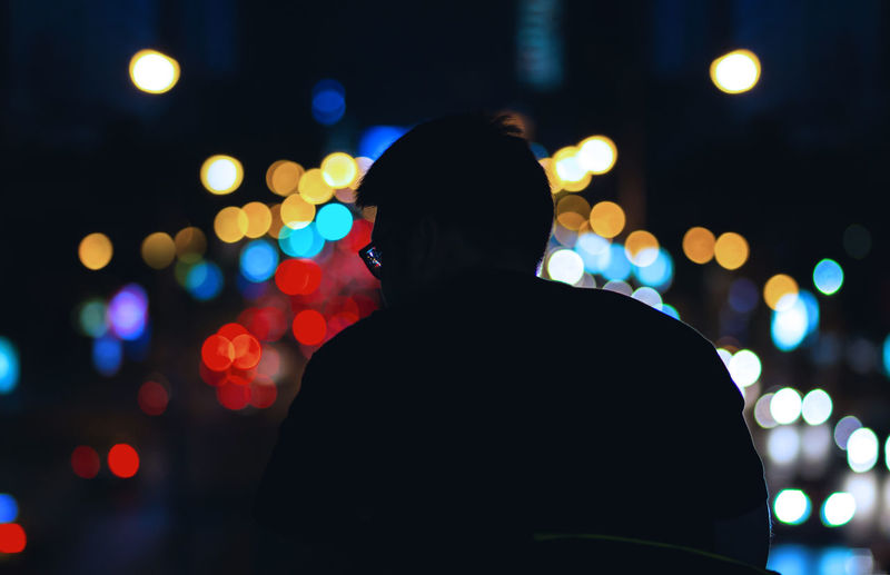 The other side Colors Life Light Night Lights Nightphotography Bokeh City Colorful Headshot Illuminated Lifestyles Men Night Nightlife One Person Portrait Silhouette Standing EyeEmNewHere