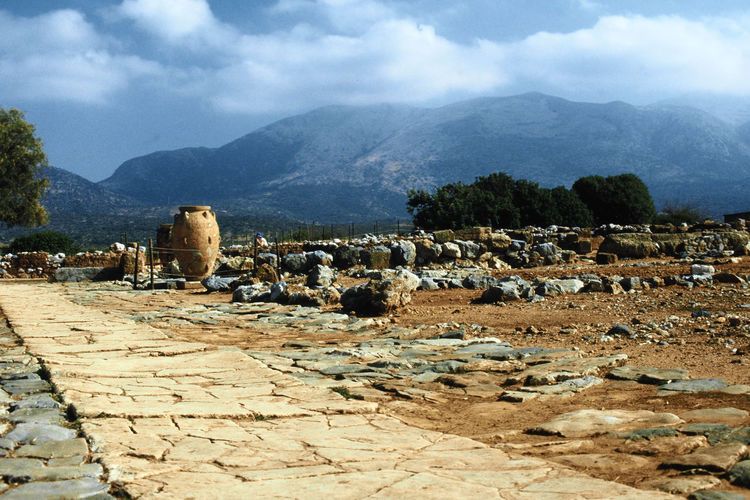 Ruins of the ancient Minoan palace at Malia - Island of Crete, Greece Nature Sky Landscape Day Outdoors Mountain Beauty In Nature Mammal No People Cloud - Sky Animal Themes Greek Ruins Large Group Of Animals Crete Island Malia Greece Greek Urn Minoan Civiliasion Ancient Greek Civilisation King Minos Minoan Palace