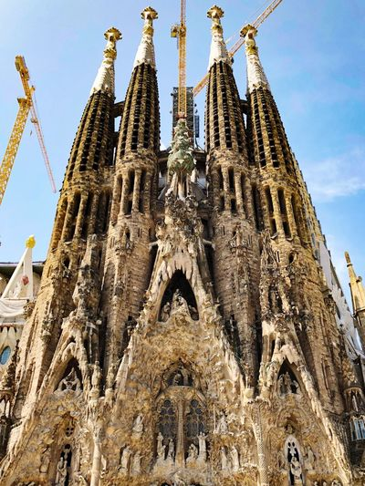 SPAIN Barcelona Gaudi Temple Sagrada Familia Low Angle View Sky Built Structure Architecture Place Of Worship Belief Spirituality Building Travel Destinations No People Day History