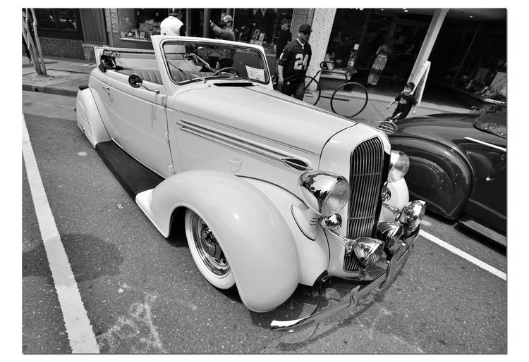 Classic Cars 6 Vintage Automobile Antique 1936 Plymouth Coupe Convertible Rumble Seat Custom Chrome 6 Cylinder Bnw_friday_eyeemchallenge Car Collectors American-made Car Show Car Club Collector's Cars Retro Style Street Scene Downtown Urban Photography Real People City Life Automotive Photography Motor Vehicles Architecture Building Exterior Bicycle Rack Monochrome_Photography Monochrome Black & White Black & White Photography Black And White Black And White Collection