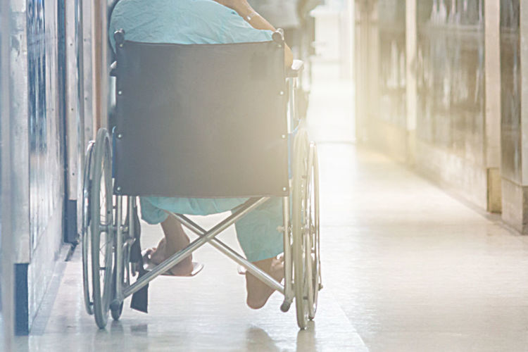 Abstract Of Man On Wheelchair In Front Of The Outpatient Department Of Hospital With Softlight. Agility Alone Chair Helpful Hospital Lonely Therapy Accident Administer Armchair Disabled Person Health Illness Medical Mobility Orthopedic Orthopedical Persons Realtionship Rollator Sick Sickness Wheelchair