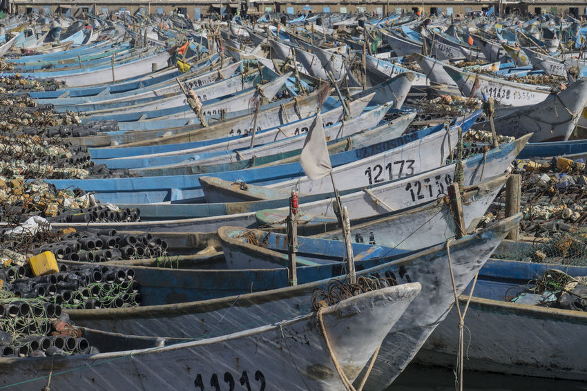 hundreds of traditional fishing boats waiting in Harbour of Nouadhibou Harbour Fishing Industry Traditional Fishing Boats Economy Food Environment Vessel Boats Close-up Africa North Africa Mauritanie Nautical Vessel Transportation Mode Of Transportation Water High Angle View Moored Day Nature Sea No People Outdoors Text Fishing Boat Travel Beach Travel Destinations Architecture Land Sailboat