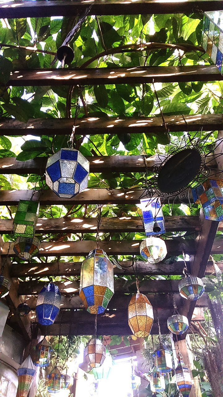hanging, low angle view, large group of objects, abundance, no people, lantern, day, indoors, multi colored