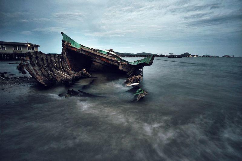 Abandoned Sea Sky Boat Overcast Atmospheric Mood Weather Nautical Vessel