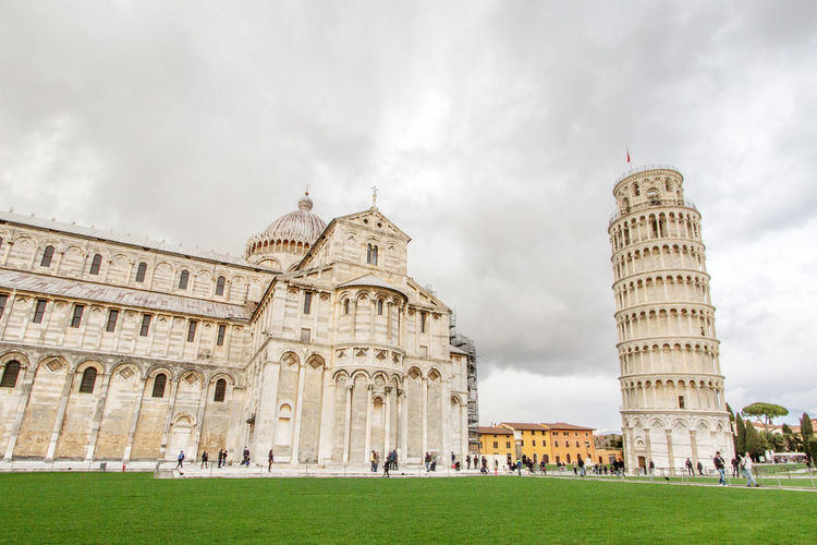 View of leaning tower of pisa and cathedral