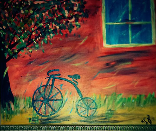 Retro Art Painting Vintage Bike Painting Colorful Artist Rendition Tree Window