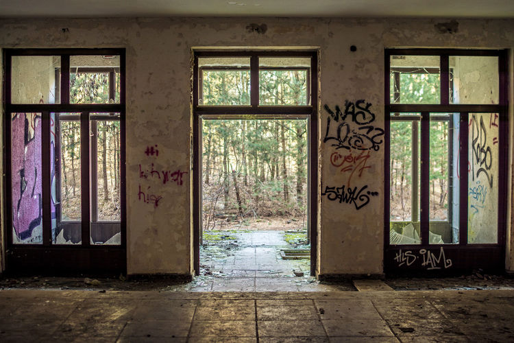 No People Architecture Built Structure Abandoned Graffiti Window Day Indoors  Flooring Damaged Art And Craft Decline Deterioration Entrance Obsolete Run-down Building Door Messy Ruined