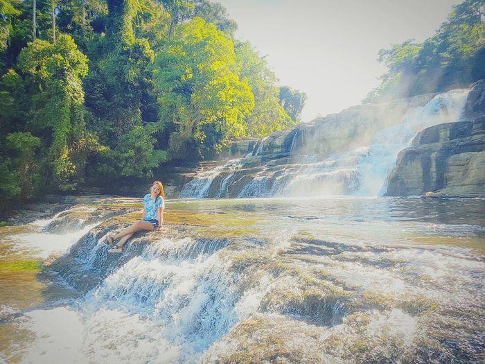 Happy Place to be 😊 Waterfall Philippines Nature Environment Love Roadtrip Tinuyan Tinuyanfalls Surigai Child Spraying Boys Motion Playing Full Length Males  Fun Hiker