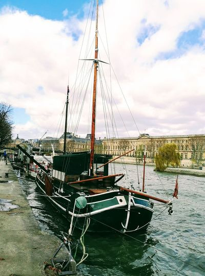 Walk Along The River River Riverside Paris ❤ La Seine Water Nautical Vessel Moored Mast Sky Cloud - Sky