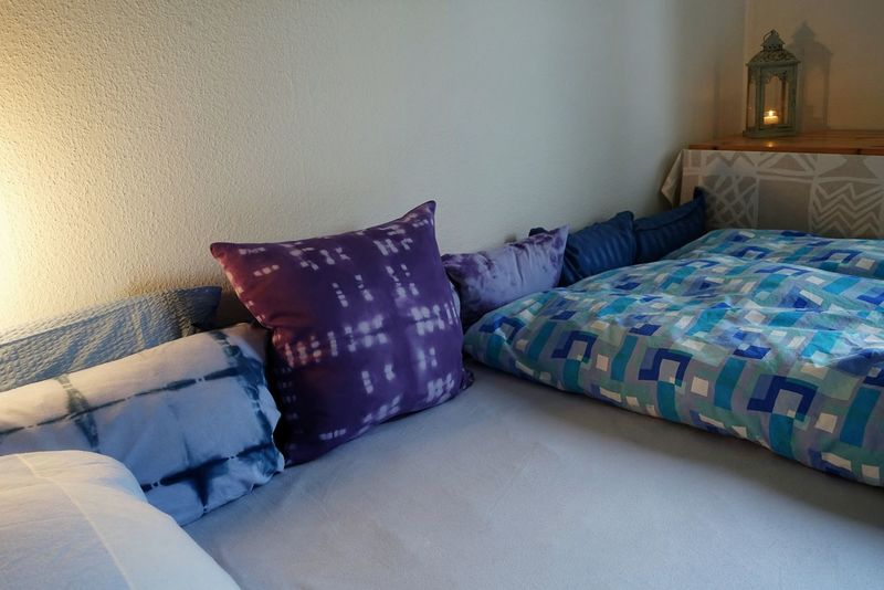 Good Night - going to Bed Pillow Muster Mix Mixed Patterns Home Interior DIY Shibori Pillows Blue Pillows And Blankets Night Architecture Evening Evening Mood Tired Bedtime Place Of Heart