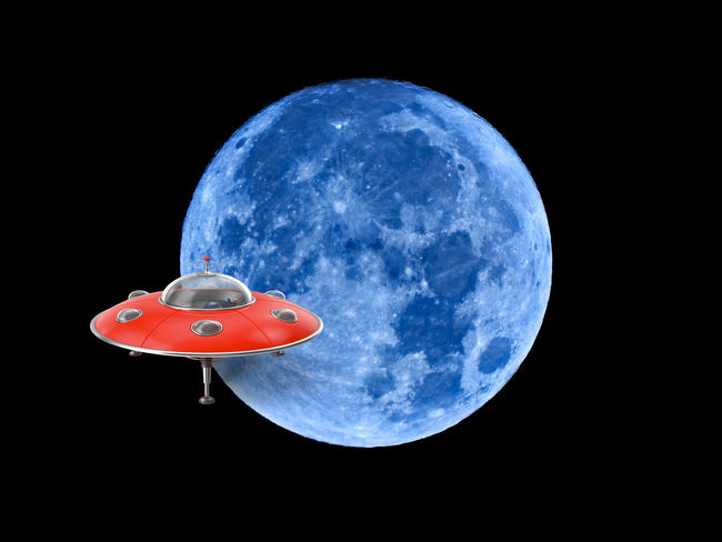 UFO Animal Animal Themes Astronomy Black Background Blue Close-up Flying Full Moon Geometric Shape Moon Nature Night No People Outdoors Planetary Moon Red Shape Sky Space Studio Shot Technology