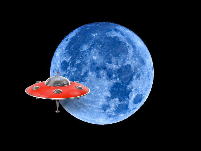 UFO Animal Animal Themes Astronomy Black Background Blue Close-up Flying Full Moon Geometric Shape Moon Nature Night No People Outdoors Planetary Moon Red Shape Sky Space Studio Shot Technology