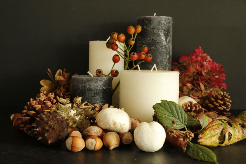Autumn still life Autumn Autumn Colors Candle Candles Candles.❤ Hydrangea Nuts Still Life Photography StillLife StillLifePhotography Stillife Brown Candle Close-up Day Freshness Fruit Healthy Eating Indoors  Mushroom No People Still Life