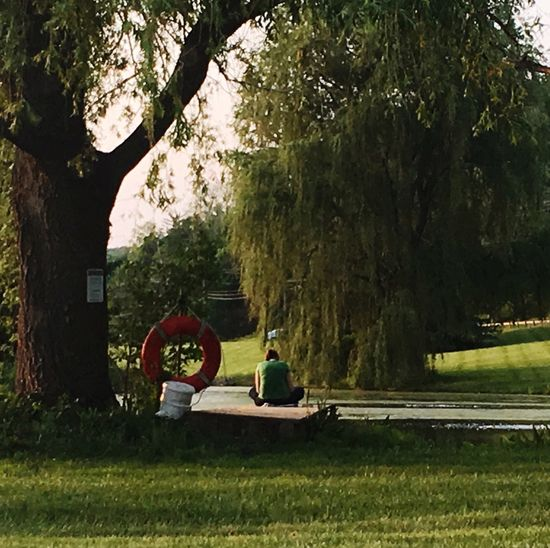 Lonely girl reading a book on a dock by a lake Lonely Loneliness Reading A Book Dock Lake Tree Lifepreserver Lifesaver Green Color Palette Long Goodbye The Secret Spaces Lost In The Landscape
