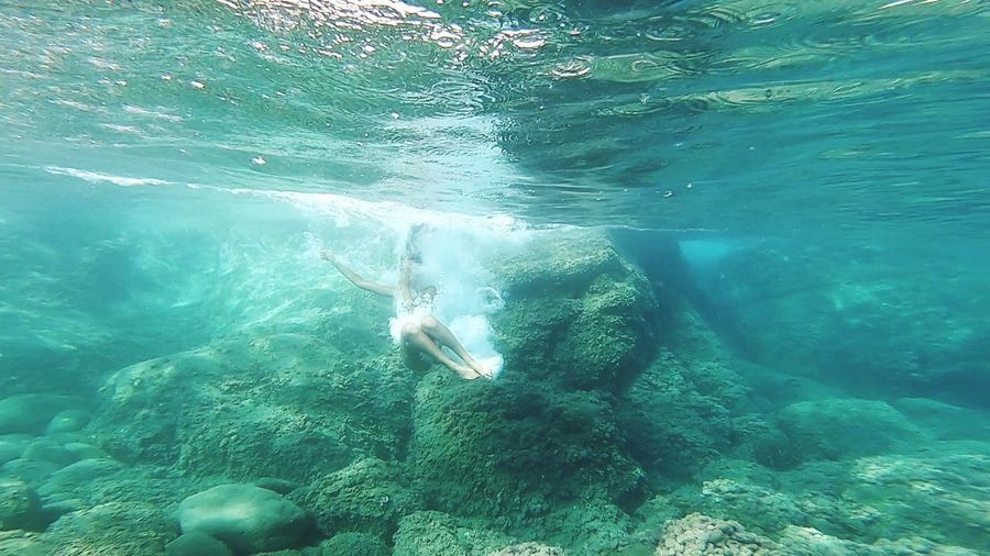 UnderSea Water Swimming Underwater Sea Full Length Swimming Pool Sea Life Summer Snorkeling Diving Into Water Turquoise Diving Water Surface