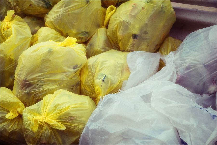 Plastic Environment - LIMEX IMAGINE Plastic Environment - LIMEX IMAGINE Backgrounds Bag Close-up Day Food And Drink For Sale Freshness Full Frame Garbage Bag High Angle View Indoors  No People Plastic Plastic Bag Polythene Retail  Still Life Wrapped Yellow