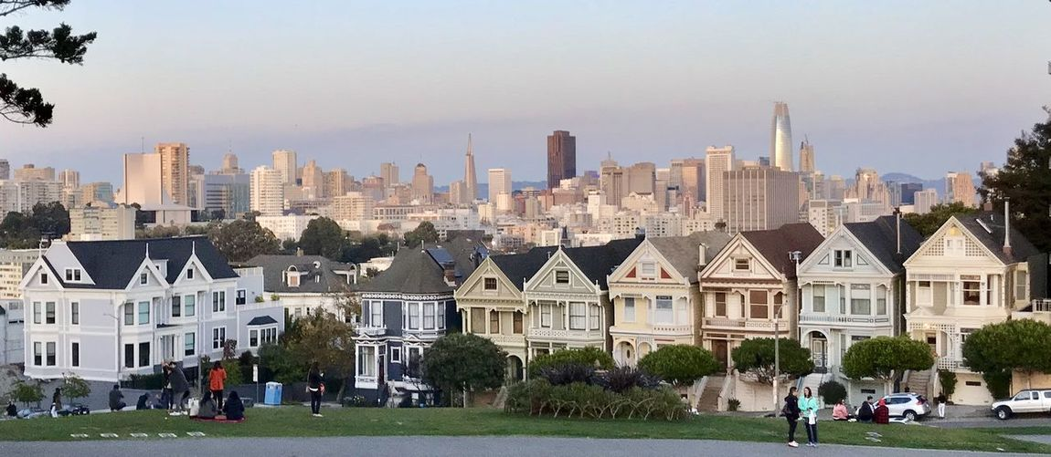 Painted Ladies San Francisco Architecture Building Exterior Built Structure City Cityscape Clear Sky Day Grass House Lifestyles Men Modern Nature Outdoors Painted Ladies People Real People Residential Building Sky Skyscraper Travel Destinations Tree Urban Skyline Women