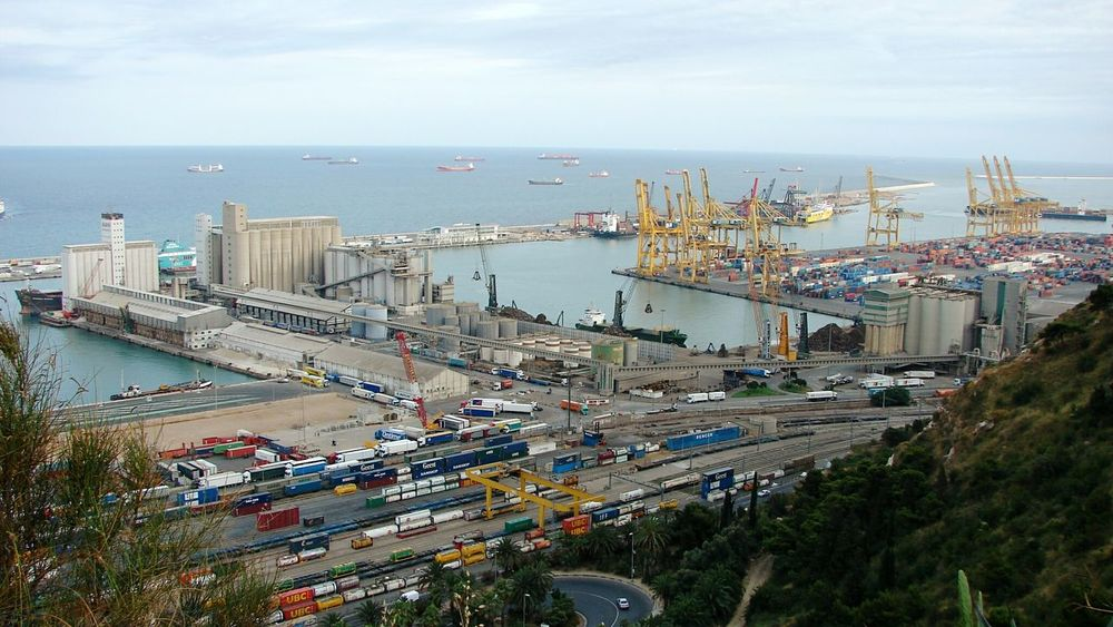 Harbour View Cargo Ship Barcelona View From The Top