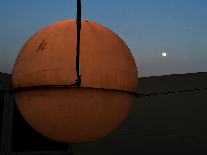 Distance View Full Moon 🌕 Full Moon Hanging Globe Architecture Clear Sky Distance Double Moon Hanging Ball Hanging Moon Moon No People Sunmoon