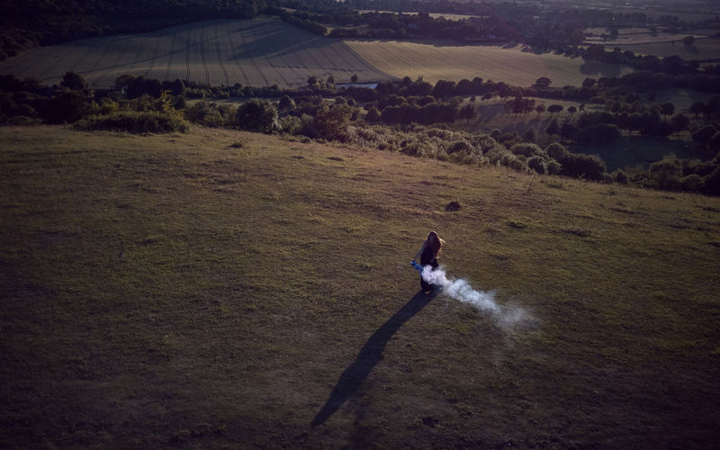 Coombe Hill in the Chilterns - England Aerial Aerial View Beauty In Nature Coombe Hill Day Drone  Drone Photography Dronephotography Droneshot Field High Angle View Landscape Mammal Nature One Person Outdoors People Purple Smoke Real People Scenics Sky Smoke Grenades Viewpoint Lost In The Landscape