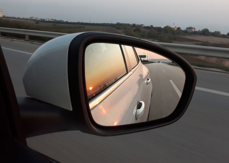 Close-up of side-view mirror