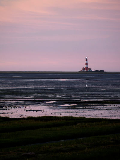 Ocean North Sea Coastline Sky Tower Architecture Lighthouse Sunset Guidance Scenics - Nature Water No People Beauty In Nature Tranquil Scene Tranquility