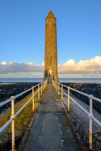 Chaine Memorial Round Tower, Larne, County Antrim. Harbour Memorial Round Tower Architecture Built Structure Chaine Day Nature No People Outdoors Port Sea Seascape Sky Sunset Walkway Water