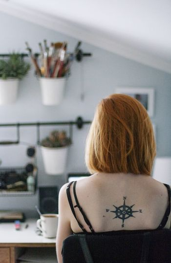 Desk Work Space Creative Artistic Decor Gingerhair Redhead Ginger Pale Shorthair Tattoo Back Tattoo Compas  Compass Tattoo The Week On Eyem