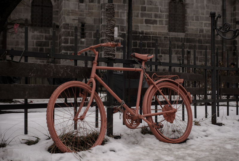 Architecture Bicycle Biserica Neagra Brasov Building Exterior Day Land Vehicle Mode Of Transport No People Orange Orange Bicycle Outdoors Romania Snow Stationary Transportation Winter Winter Neighborhood Map