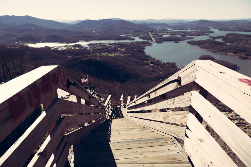 Bell Mountain View Architecture Bridge Building Building Exterior Built Structure Connection Day Go Higher High Angle View Lake Chatuge Landscape Mountain Mountain Range Nature No People Outdoors Railing Scenics - Nature Sky Water Wood Wood - Material