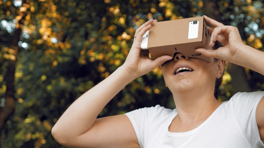 Woman using google cardboard against trees