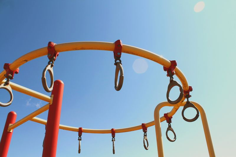 Low angle view of playground against clear sky