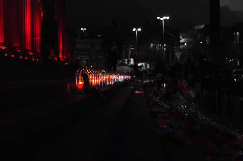 Candles In A Row Red Celebration No People Illuminated Travel Destinations Night Liverpool, England Colour Splash Indoors