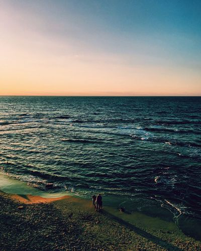 Connected By Travel Sea Sunset Nature Horizon Over Water Scenics Beauty In Nature Water Tranquil Scene Sky Tranquility Animal Themes Outdoors One Animal Real People Beach One Person Clear Sky Mammal Wave Day