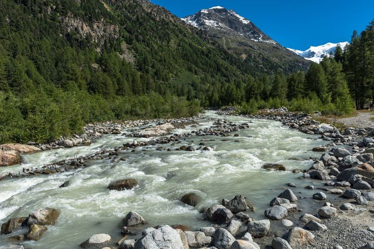 River flowing by mountains