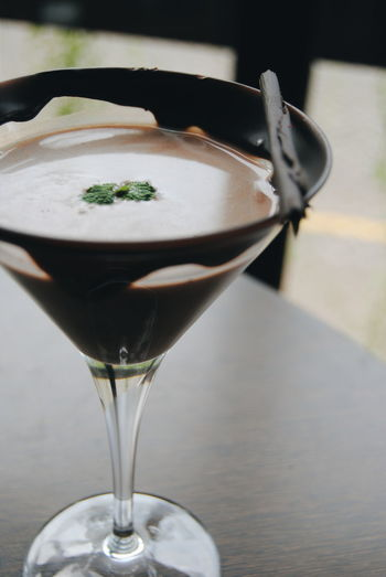 Close-up of chocolate cocktail