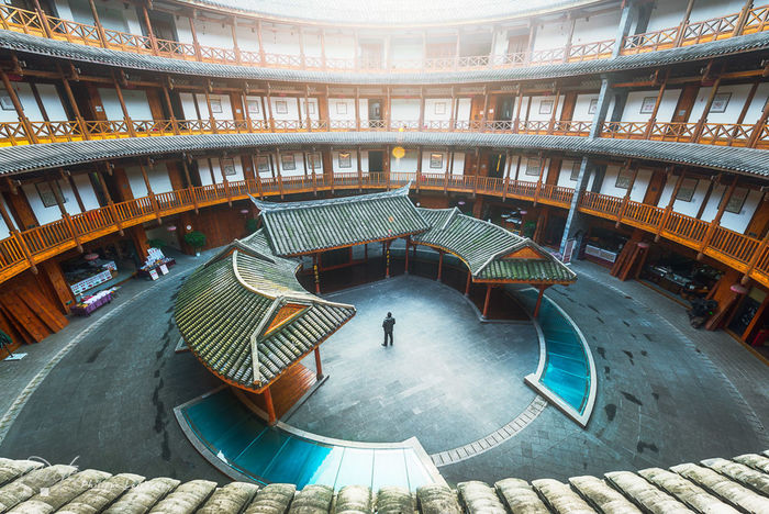 Luodai Hakka traditional roundhouse Architecture Building Built Structure Chengdu China Day Hakka Ancient Culture Luodai Man Roof Roundhouse Sichuan