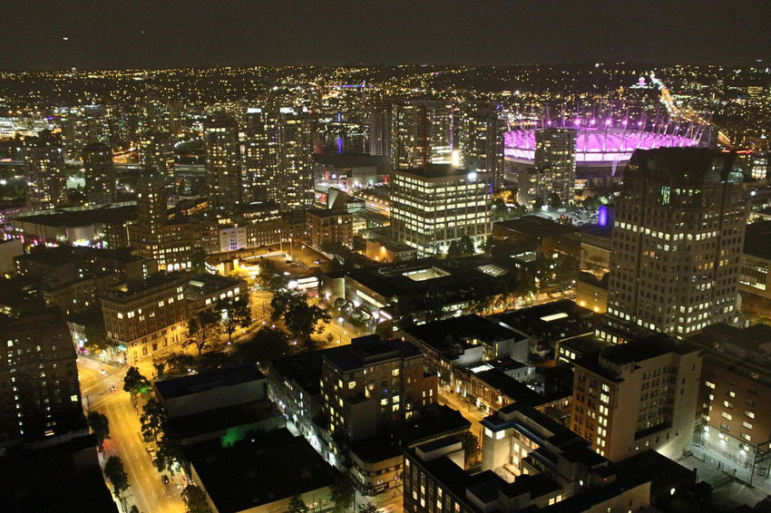 Aerial View Architecture BC Place City Life Cityscape Illuminated Night Travel Destinations Urban Skyline Vancouverisawesome