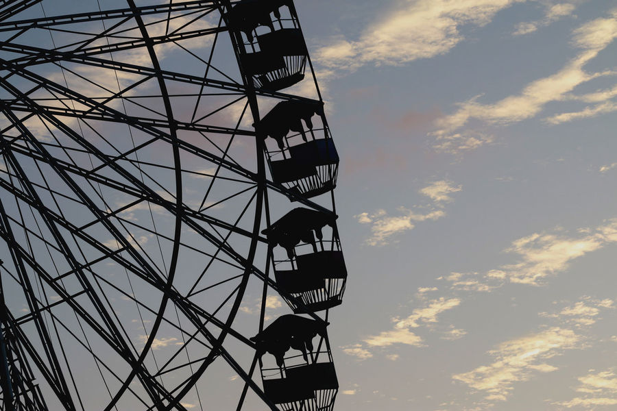 Life is like a ferris wheel...sometimes you're UP,sometimes you're DOWN.In the end,you just have to learn,how to enjoy the ride Black And Yellow  Cages Evening Sky Ferris Wheel Giant Wheel Intersection Metal Scatteredclouds Shadows Silhouette Sunset The Week On EyeEm Thrill