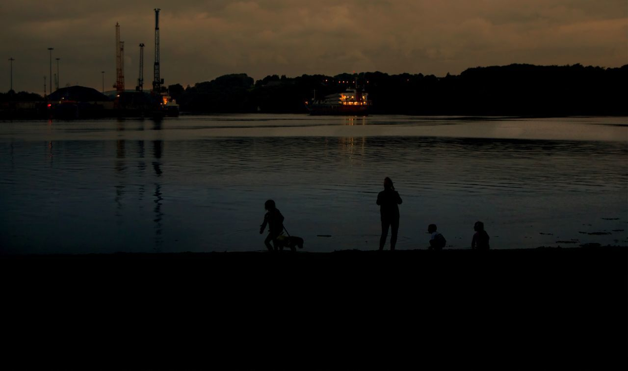 sunset, silhouette, water, reflection, sky, real people, outdoors, nature, leisure activity, men, night, architecture, tree, people