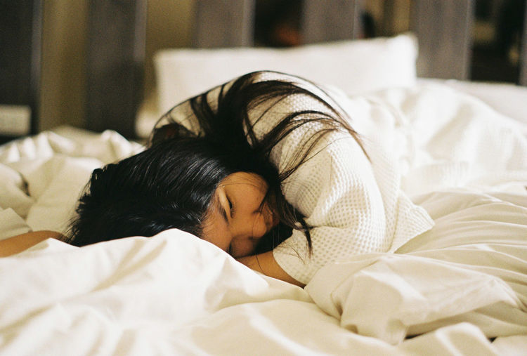 Roll#2 Beauty Girl Alone In The Hotel Room One Person Real People Indoors  Lifestyles Alone Lazy White Portrait Of A Woman Film Photography Filmcamera