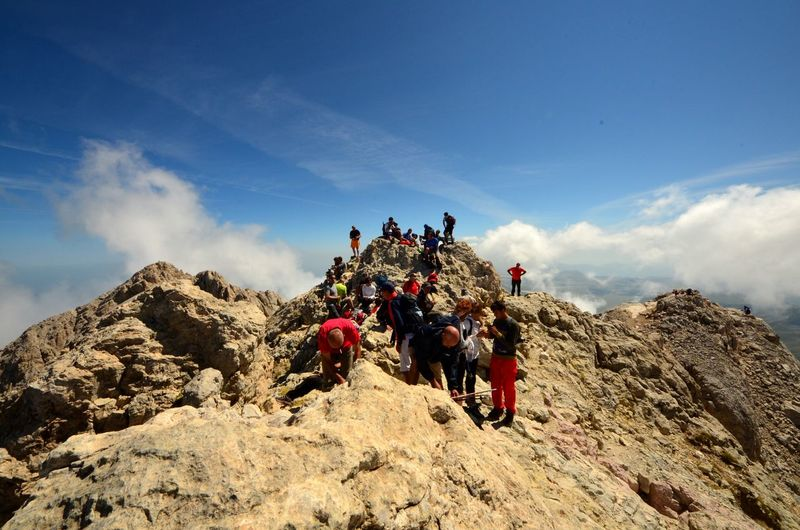 Sport Men Day Blue Mountain Sky Adult Outdoors People Sky And Clouds Gran Sasso Italy Summit Climbers Trekking Summer