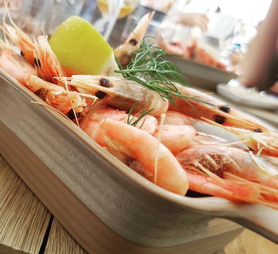 Close-up of seafood on plate on table